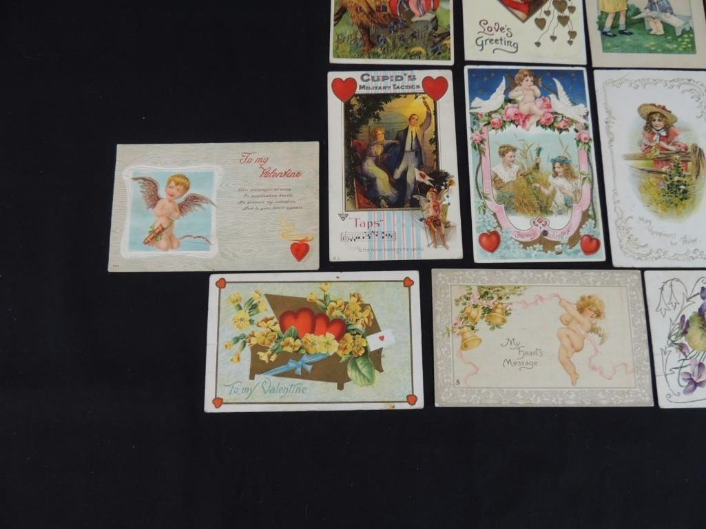 Group of 16 Valentines Day Postcards Featuring Cupid, - 4
