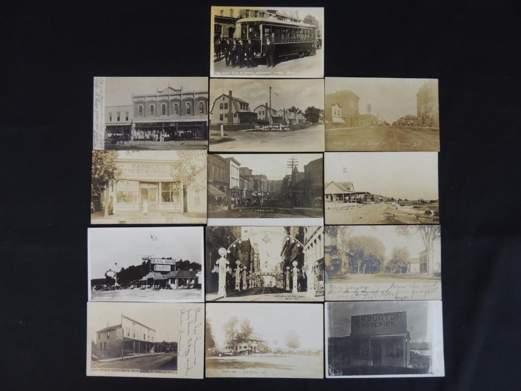 Group of 13 Street and Building Views Postcards