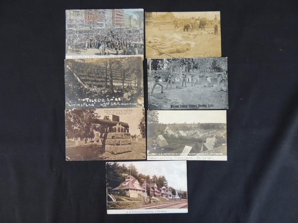 Group of 7 Military Fort Postcards and More