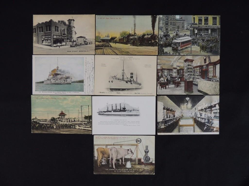 Group of 10 Postcards Featuring Trains, Boats, and