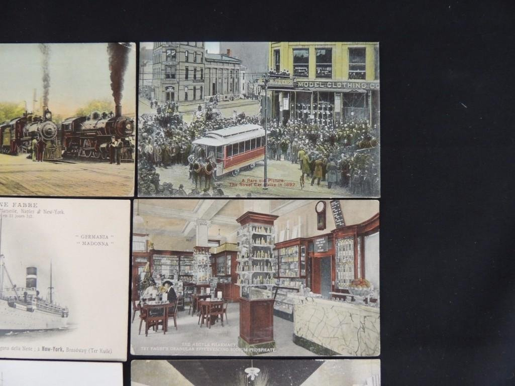 Group of 10 Postcards Featuring Trains, Boats, and - 2