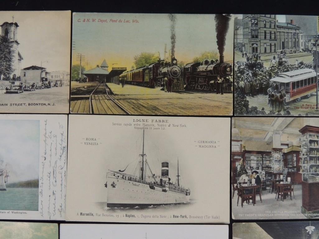 Group of 10 Postcards Featuring Trains, Boats, and - 3