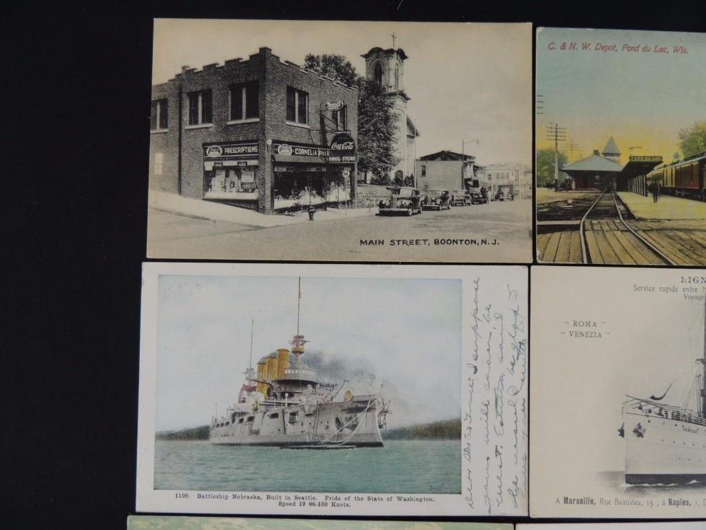 Group of 10 Postcards Featuring Trains, Boats, and - 4