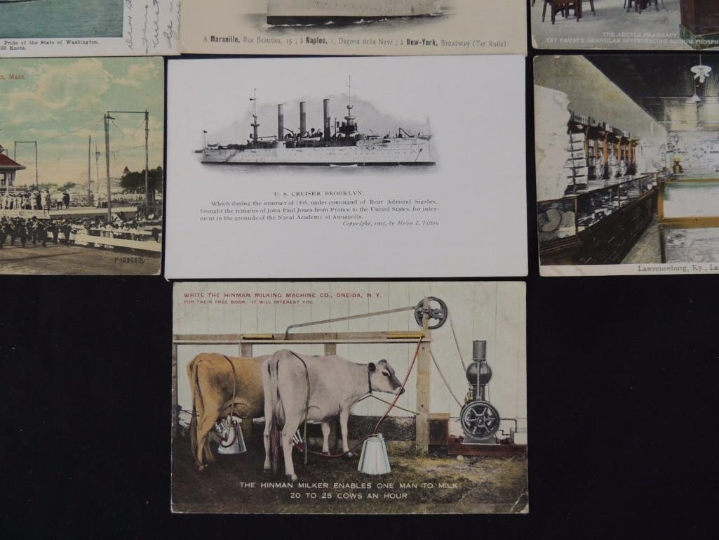 Group of 10 Postcards Featuring Trains, Boats, and - 5