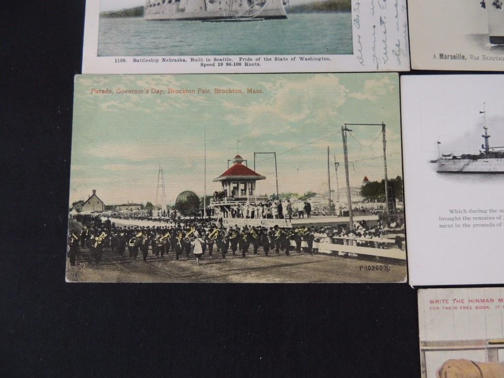 Group of 10 Postcards Featuring Trains, Boats, and - 7