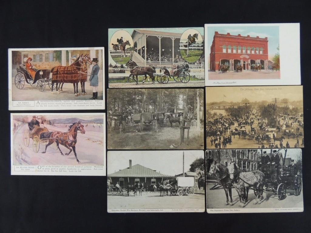 Group of 8 Postcards Featuring Wagons, Fire Fighters,