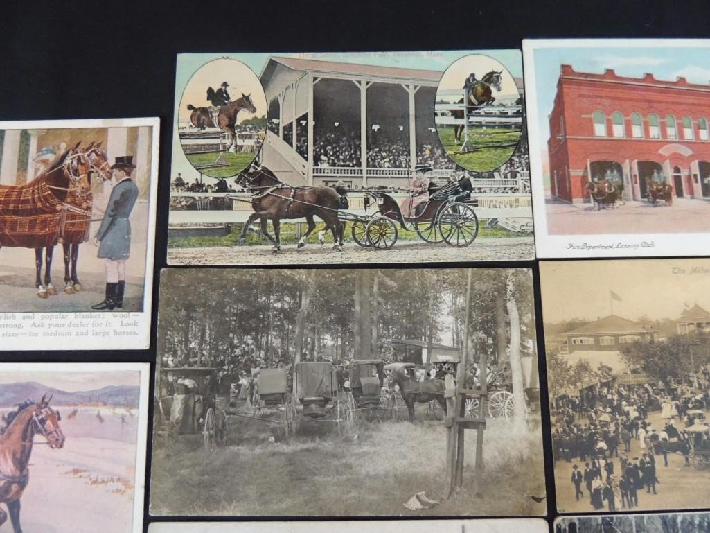 Group of 8 Postcards Featuring Wagons, Fire Fighters, - 3
