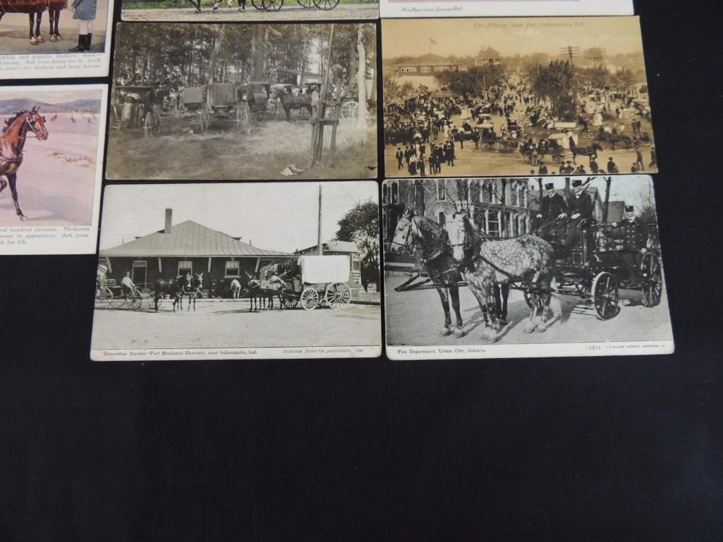 Group of 8 Postcards Featuring Wagons, Fire Fighters, - 4