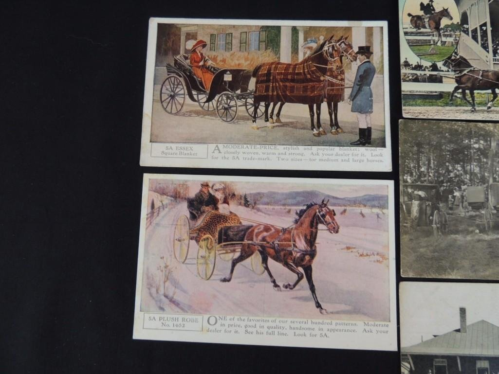 Group of 8 Postcards Featuring Wagons, Fire Fighters, - 5