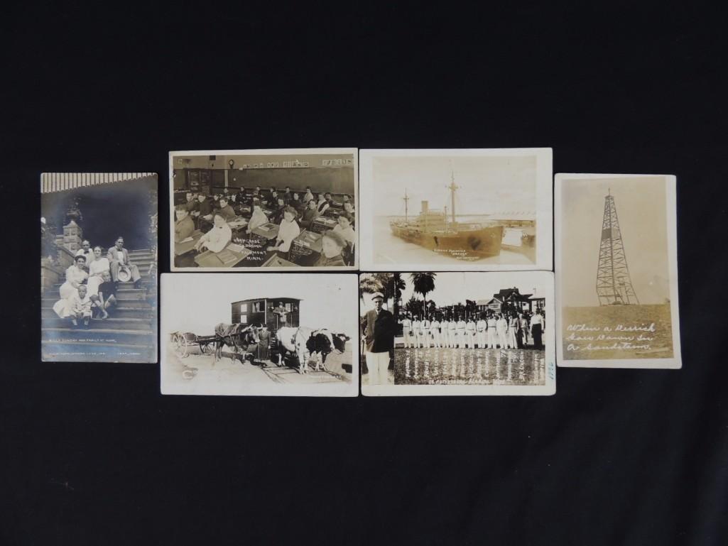 Group of 6 Real Photo Postcards of Ships, Baseball