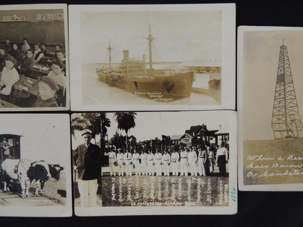 Group of 6 Real Photo Postcards of Ships, Baseball - 2