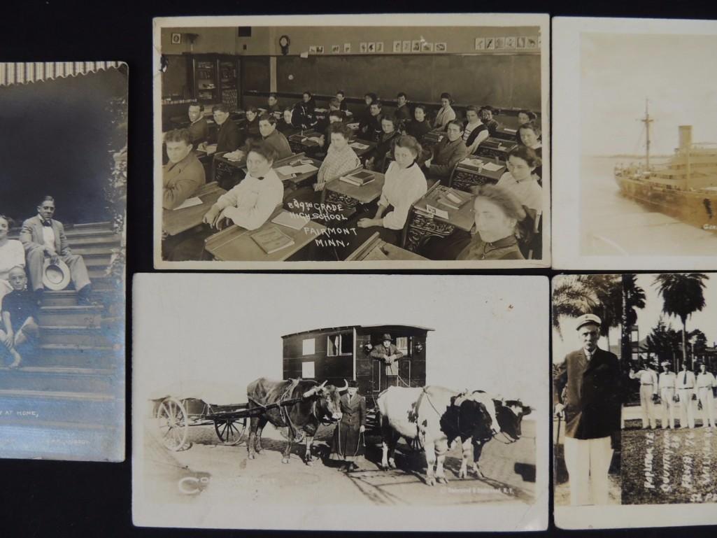 Group of 6 Real Photo Postcards of Ships, Baseball - 3