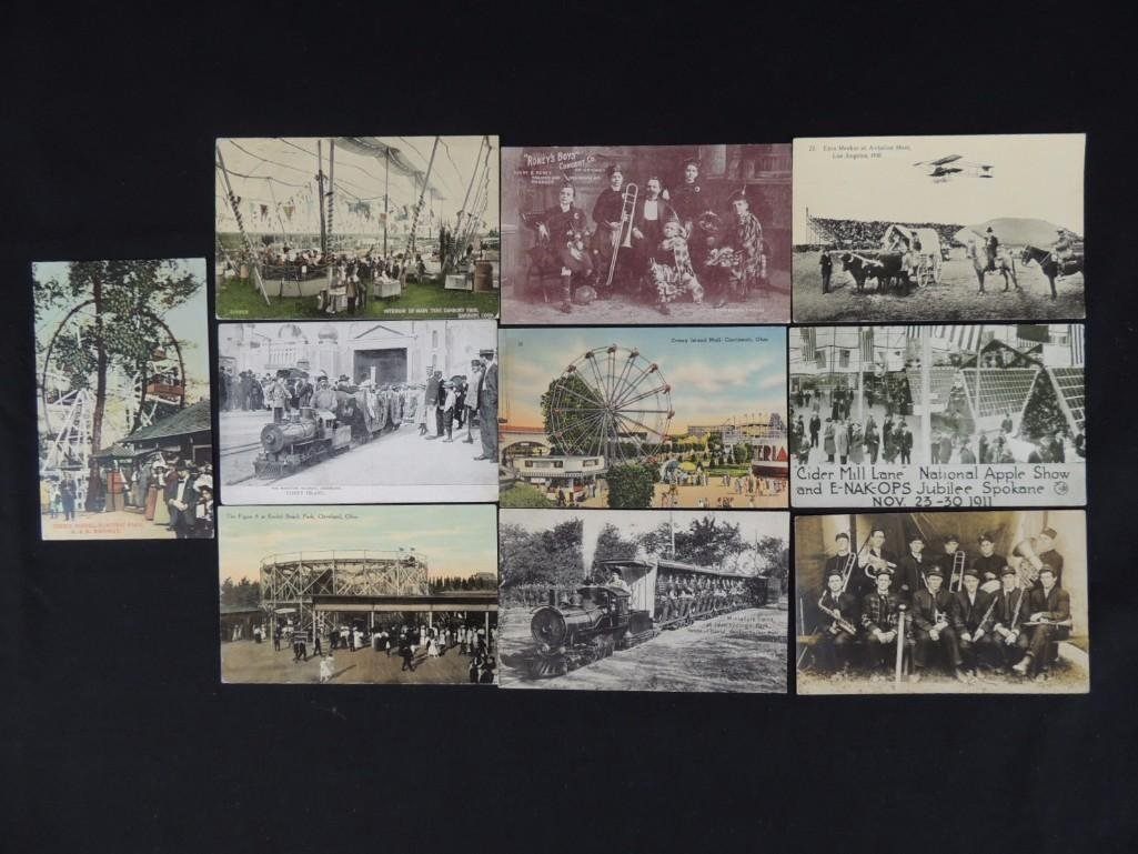 Group of 10 Postcards Featuring Miniature Trains,