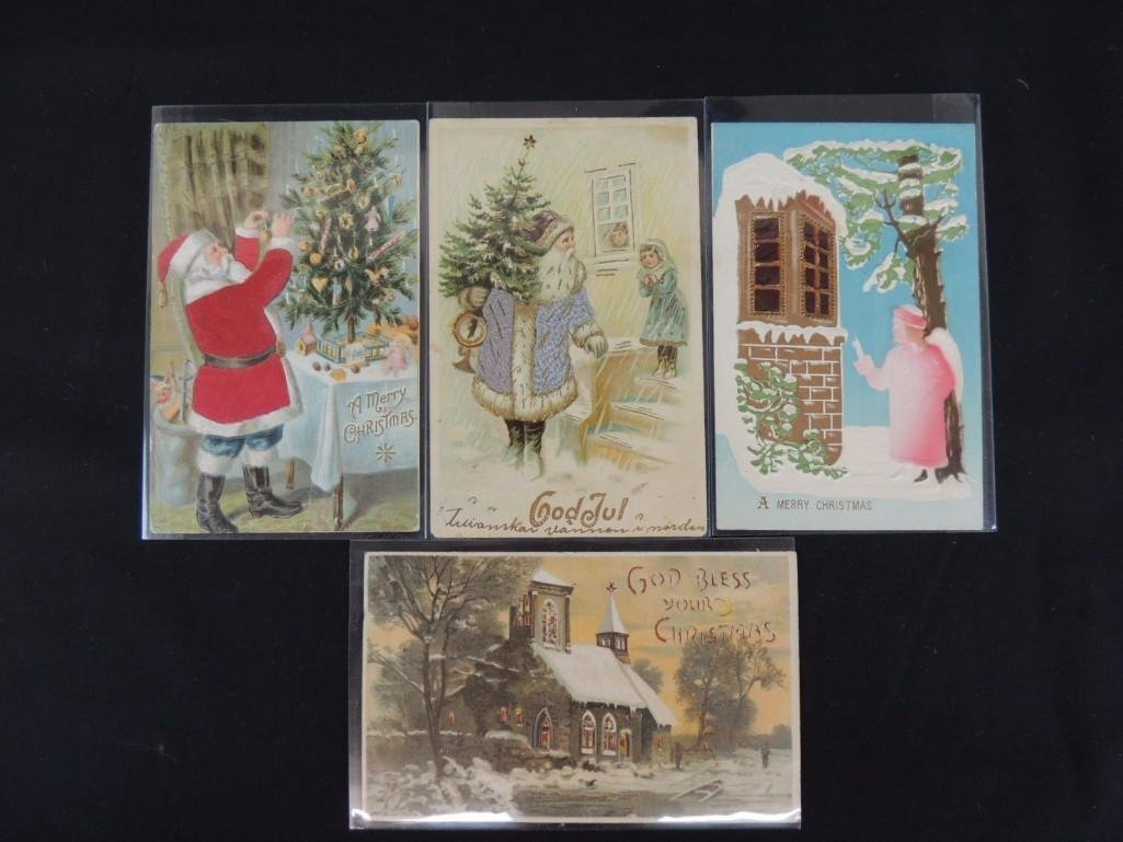 Group of 4 Christmas Postcards Featuring Santa Claus