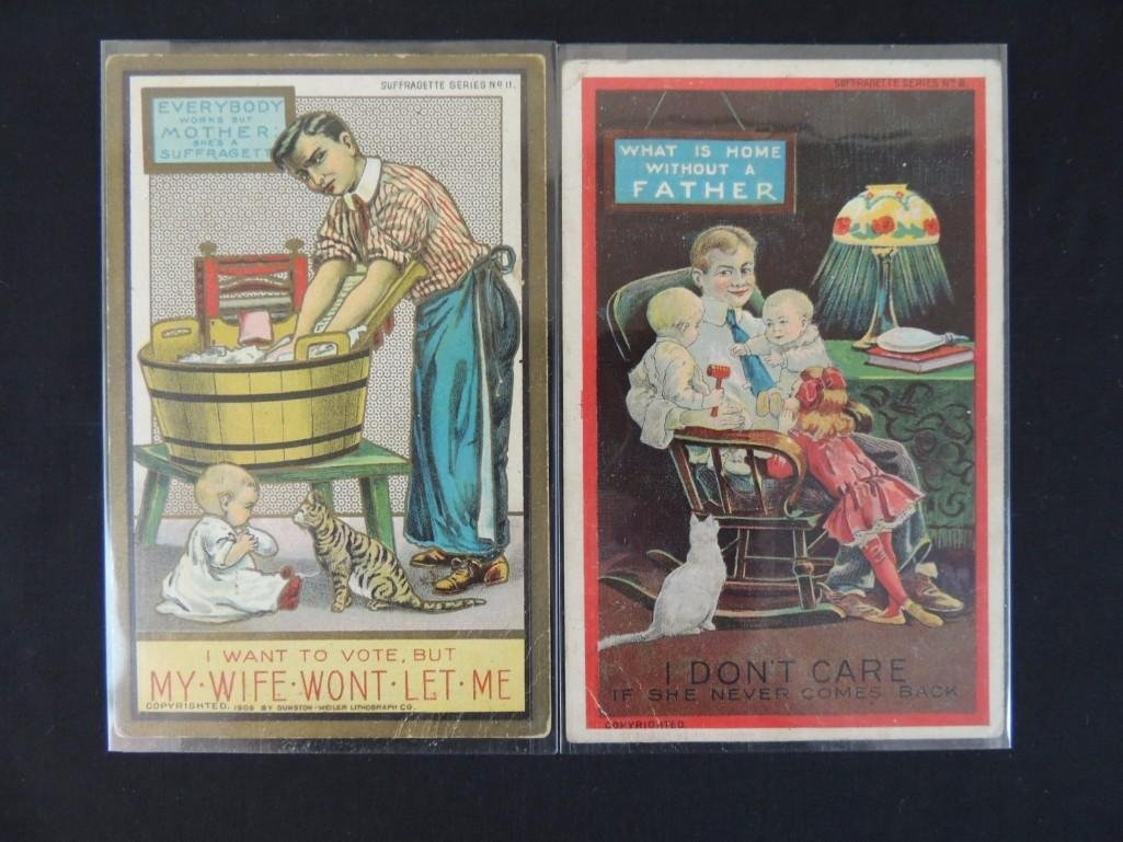 Group of 2 Suffragette Series Postcards Featuring Men