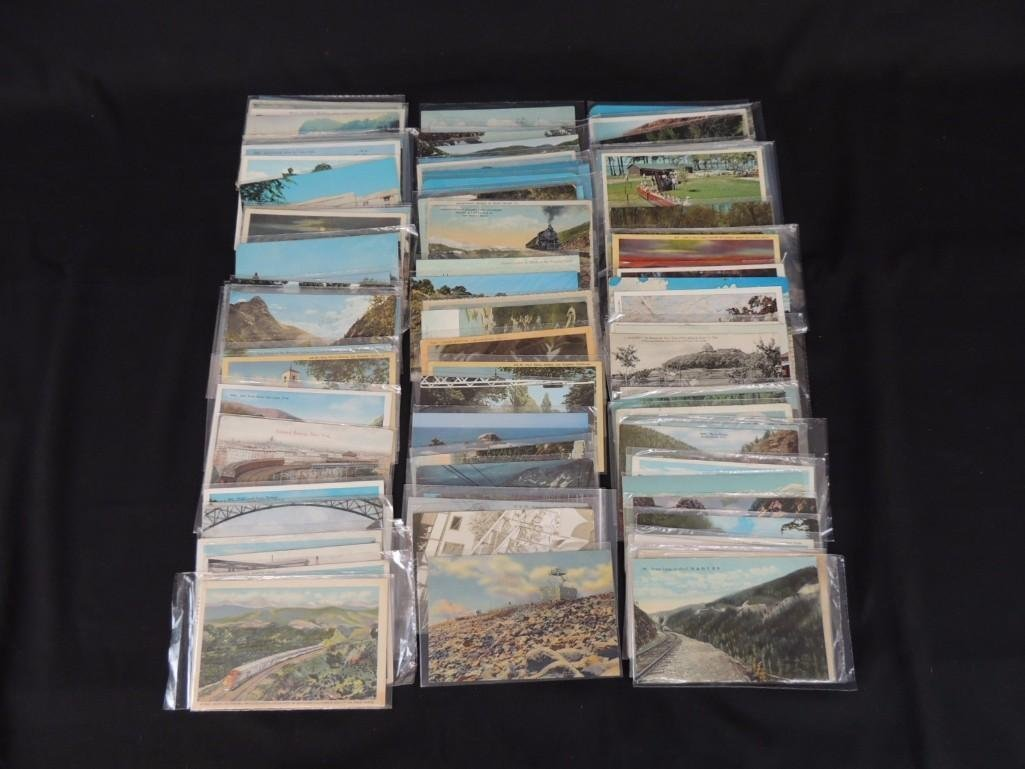 Approximately 100 Railroad Postcards Featuring C.M. &