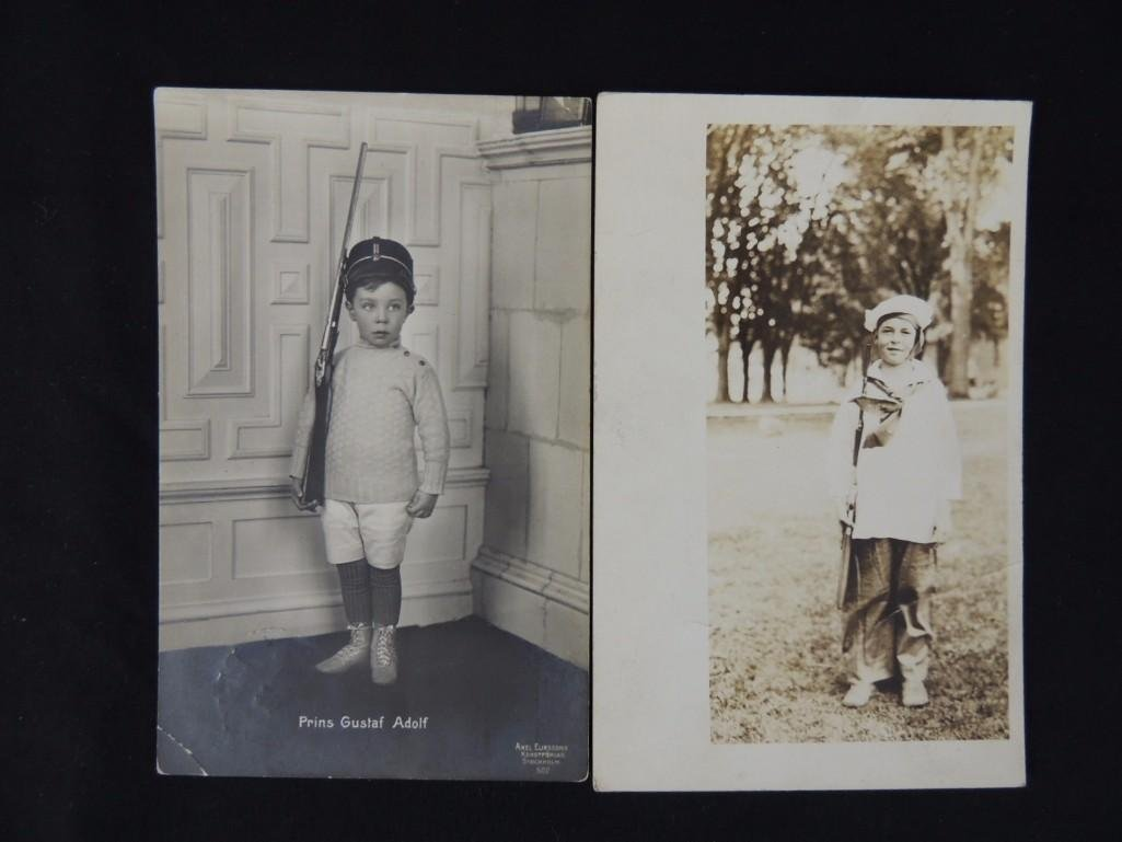 Real Photo Postcards of 2 Boys with Guns and Military