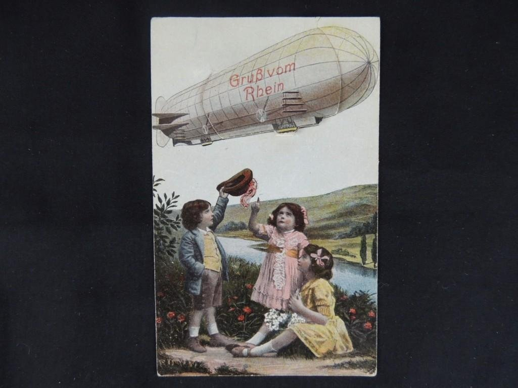 German Pull Out Zeppelin Postcard
