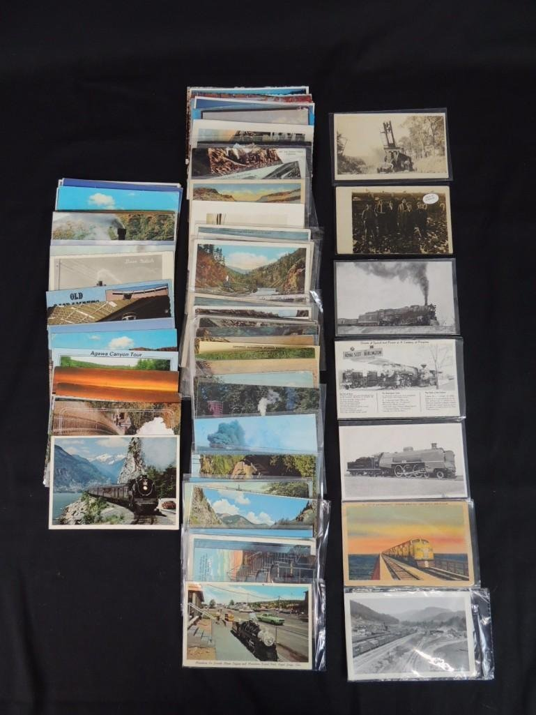Approximately 100 Postcards Featuring Trains
