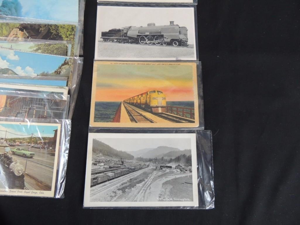 Approximately 100 Postcards Featuring Trains - 2