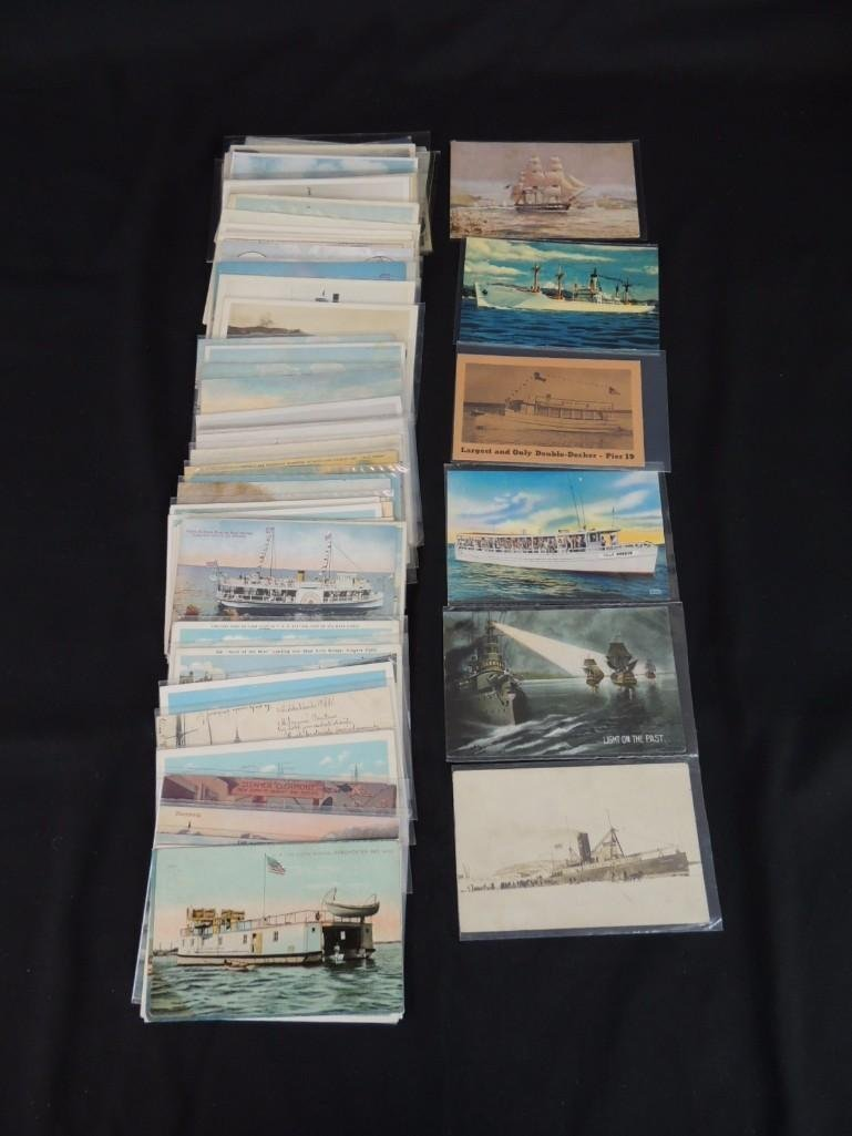 Approximately 50 Plus Boat and Ship Postcards