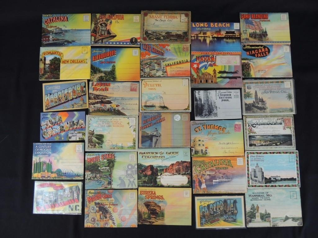 Group of 30 1930's and 40's Souvenir Postcard Folders