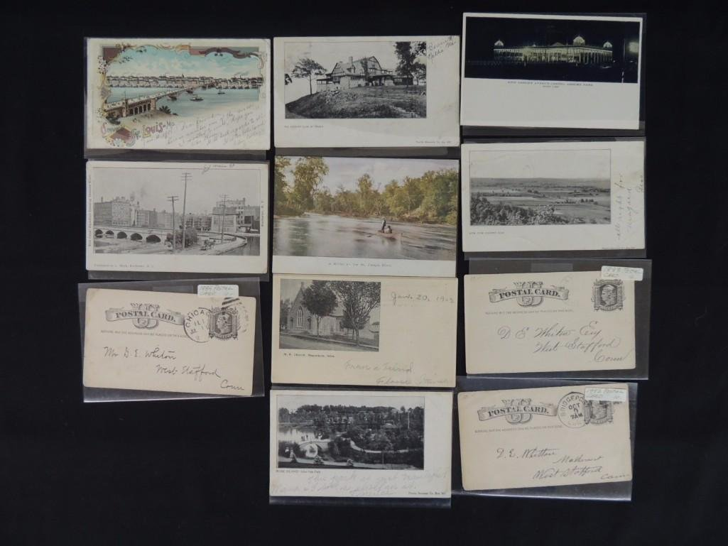 Group of 11 Private Mail Cards Featuring Parks, Houses,