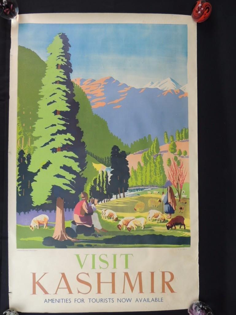 Vintage Visit Kashmir Vintage Travel Poster -