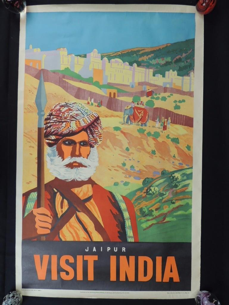 Vintage Jaipur Visit India Vintage Travel Poster