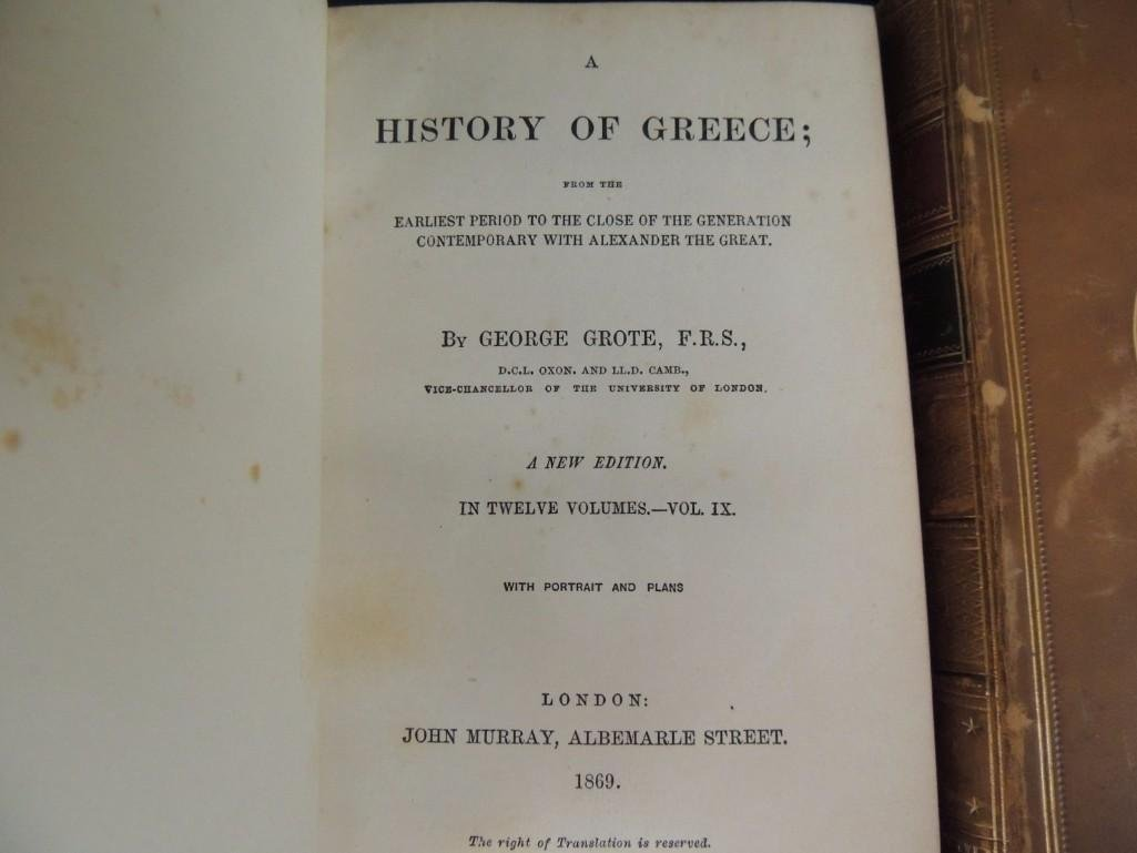 A History of Greece by George Grote 1869 Volumes IX and - 4