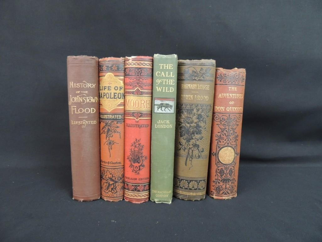 Group of 6 Antique Books Featuring Dickens Works, Life