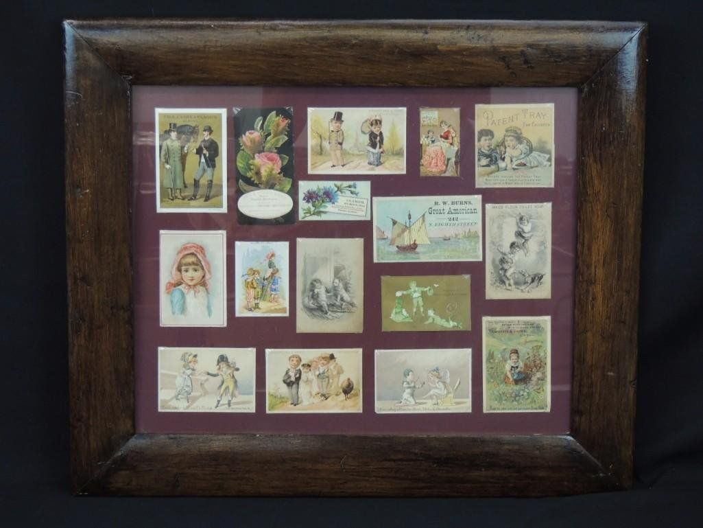 Group of Trade Cards in a Primitive Wood Frame