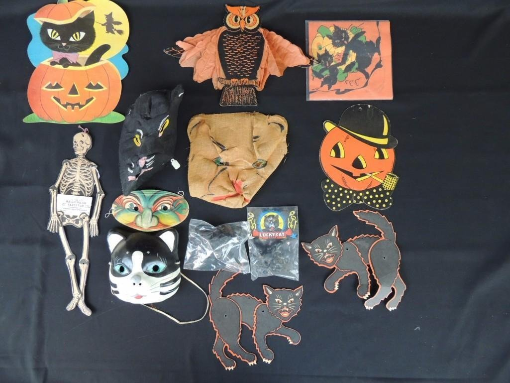 Group of Vintage Halloween Decorations Featuring Cats,