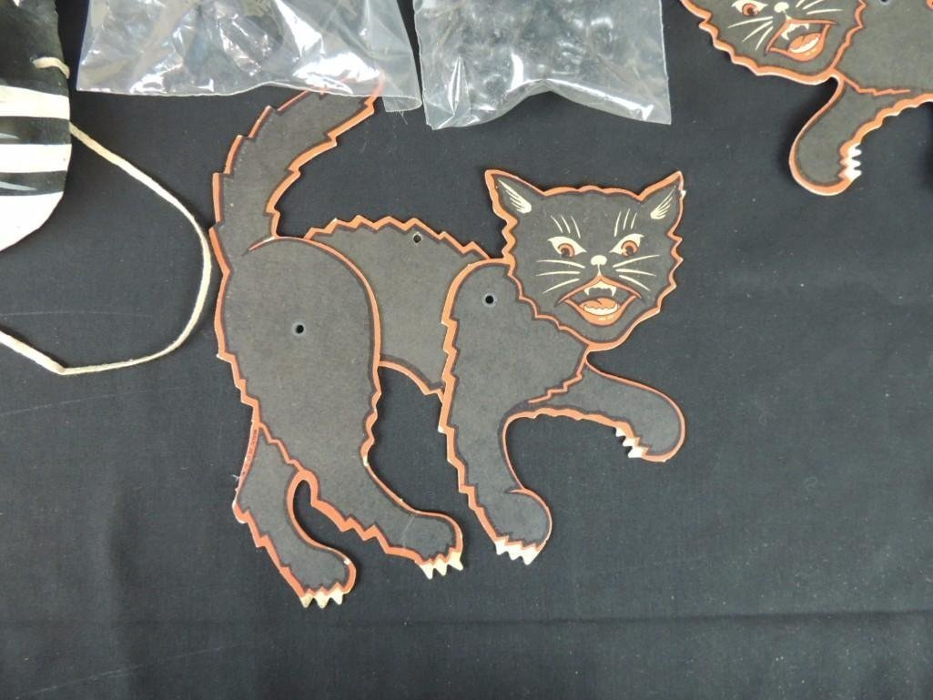 Group of Vintage Halloween Decorations Featuring Cats, - 3