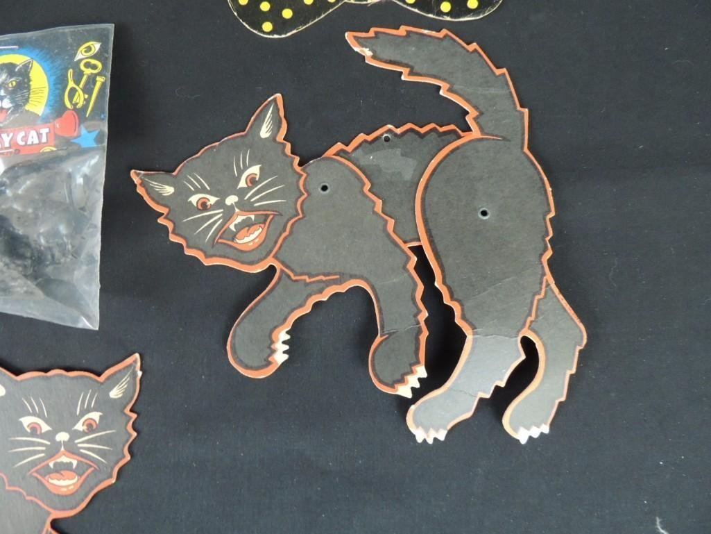 Group of Vintage Halloween Decorations Featuring Cats, - 4