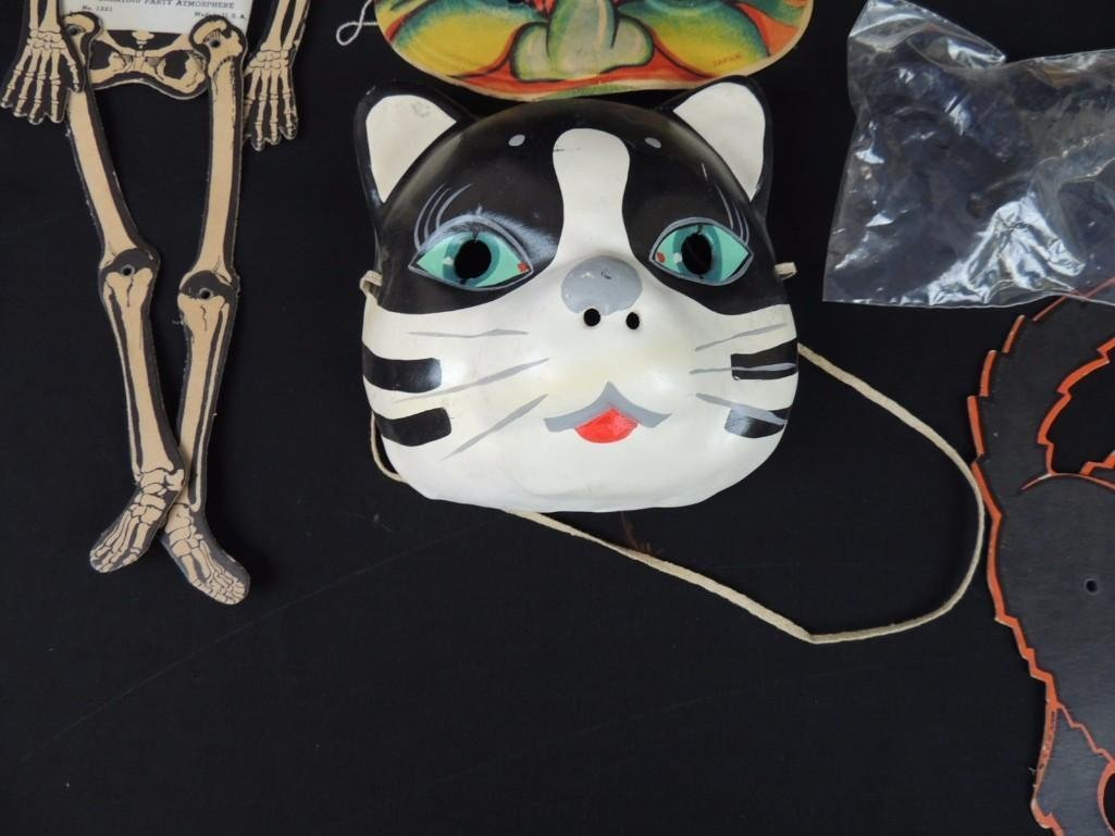 Group of Vintage Halloween Decorations Featuring Cats, - 8
