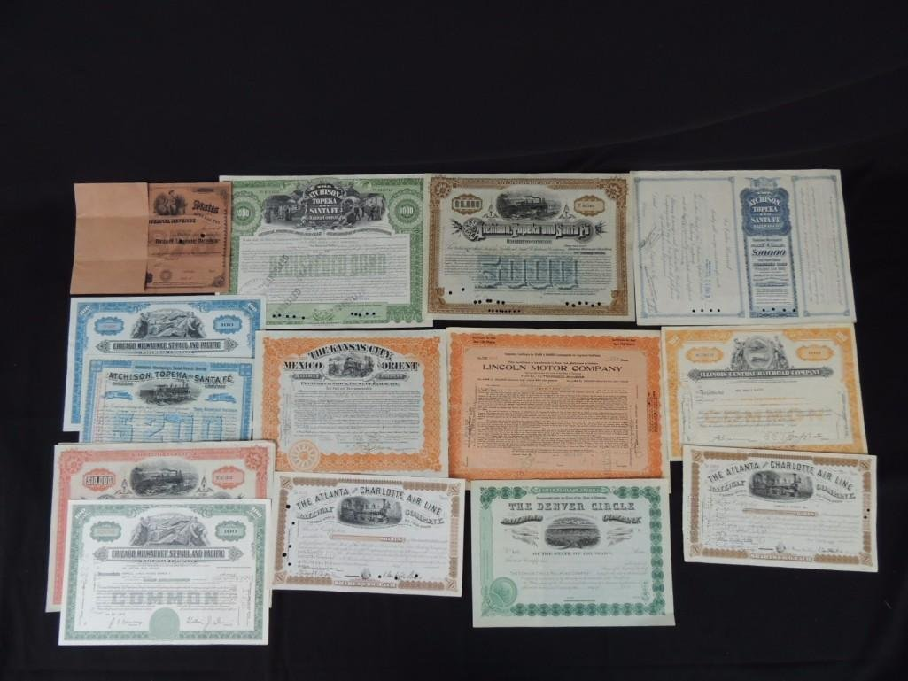 Group of 15 Railroad Bonds, Stocks, and Shares,
