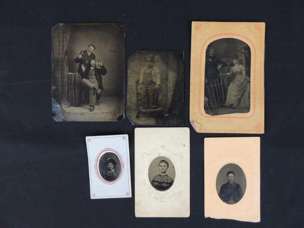 Group of 6 Tin Type Photographs Featuring Dentist,