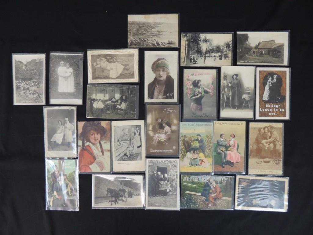 Group of 23 Women, Men, and Couples Postcards