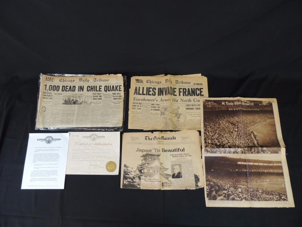 Group of 4 Newspapers Featuring The Chicago Tribune,