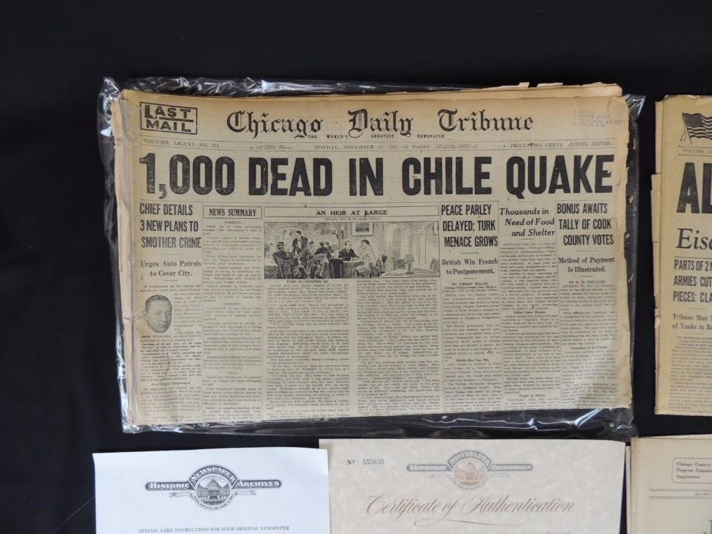 Group of 4 Newspapers Featuring The Chicago Tribune, - 2