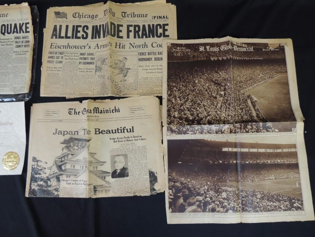 Group of 4 Newspapers Featuring The Chicago Tribune, - 4