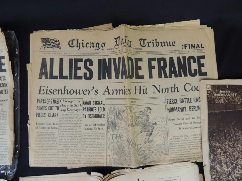 Group of 4 Newspapers Featuring The Chicago Tribune, - 5