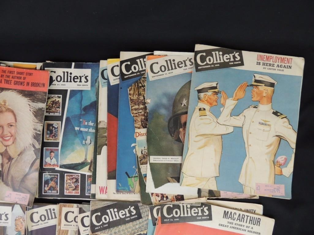 Large Group of Collier's Magazines From the Year 1945 - 2