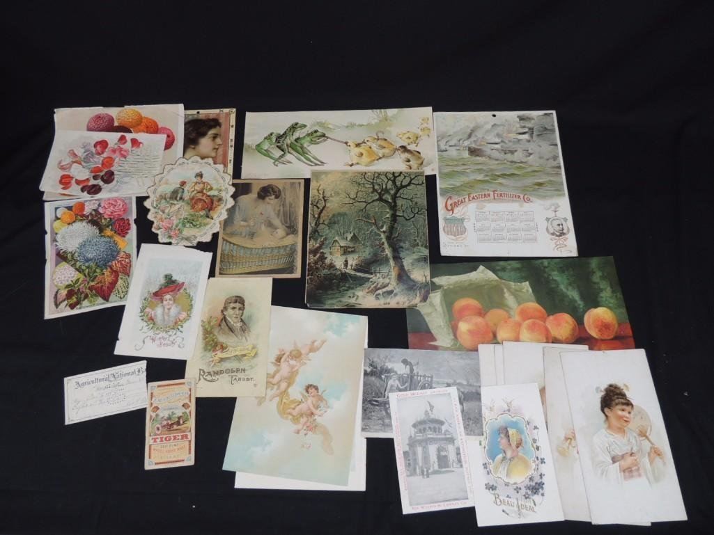 Group of Vintage Prints Featuring Animals, Battleships,