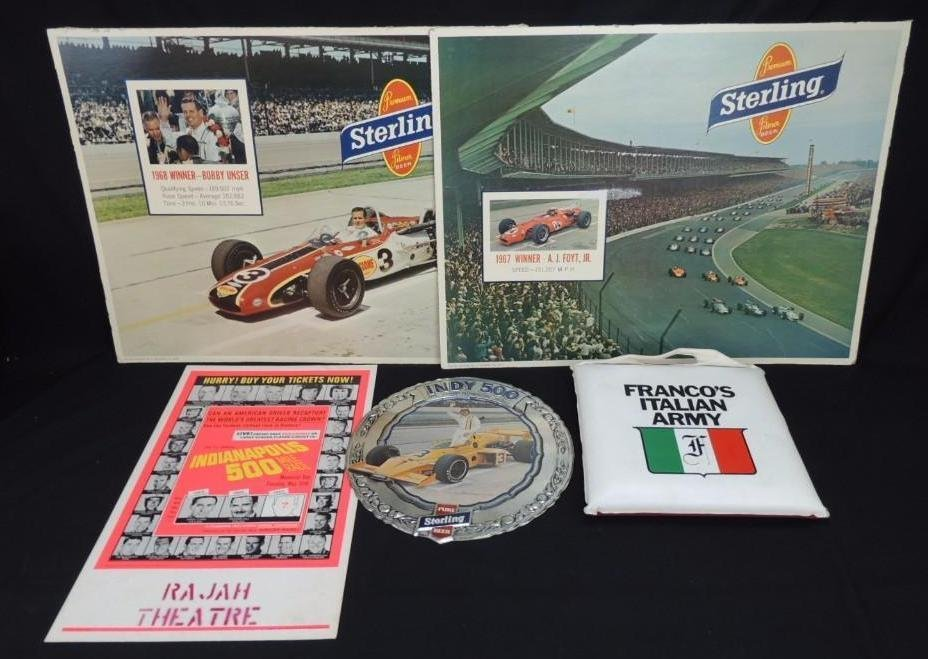 Group of 5 Indy Car Posters and Cushion Featuring
