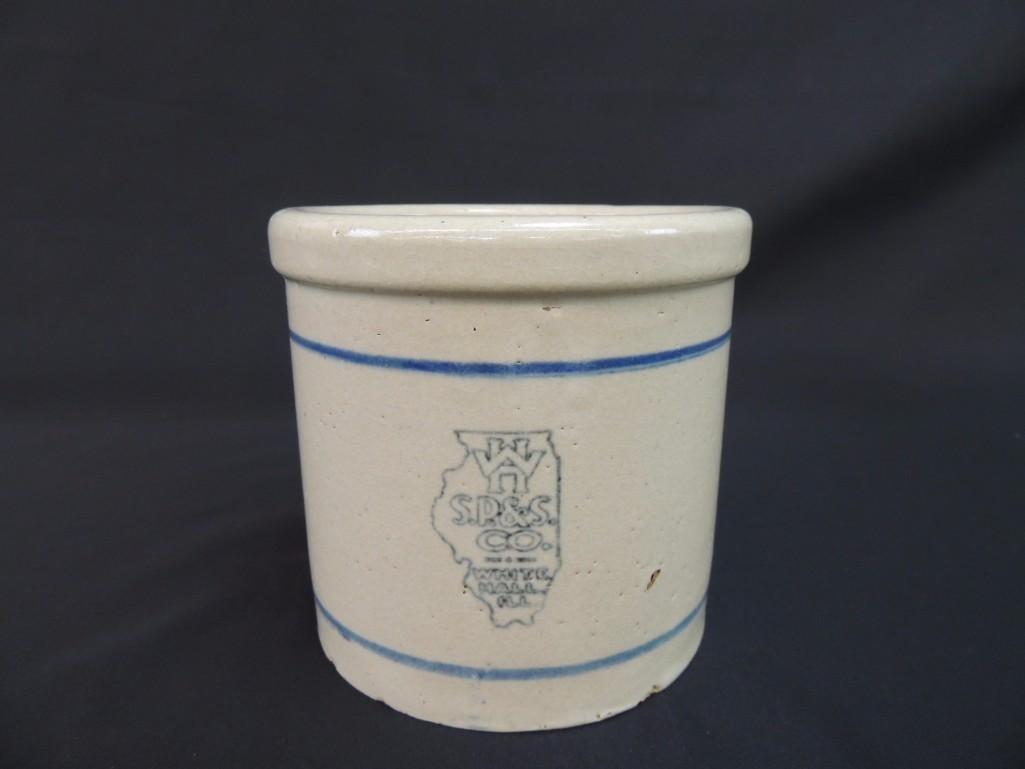 H W S.P.&S. Co. White Hall Illinois Stoneware