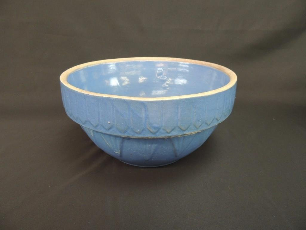 Primitive Blue Stoneware Bowl