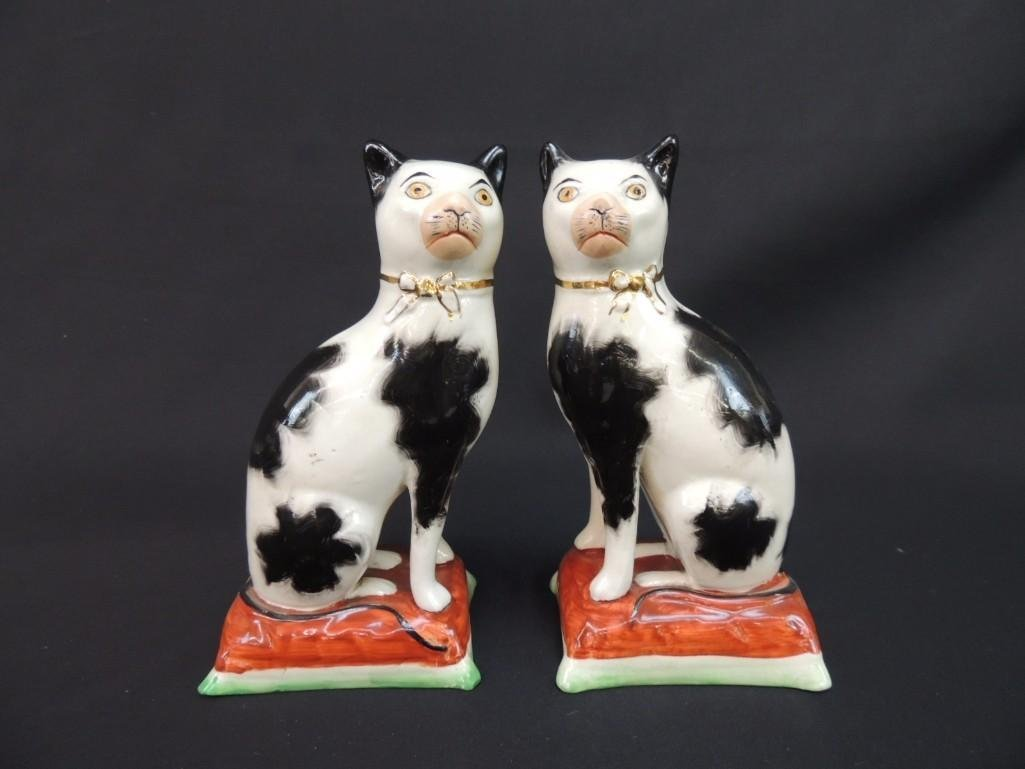 Pair of Staffordshire Cats England