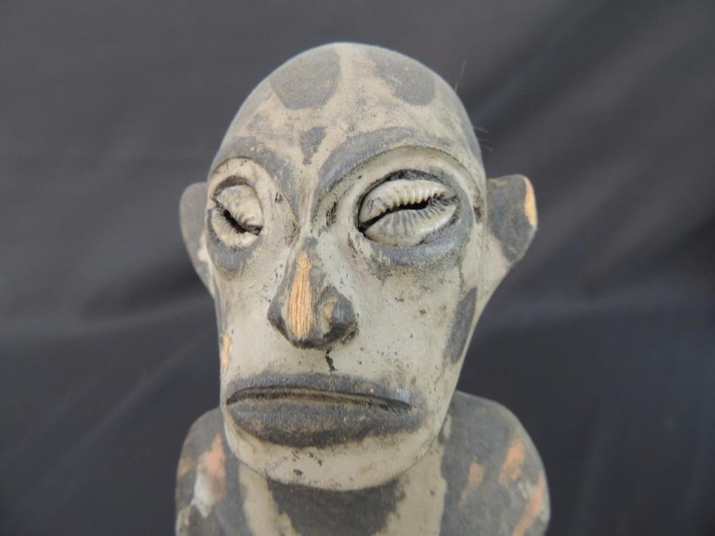 Wood Carved Tribal Statue with Shell Eyes - 3